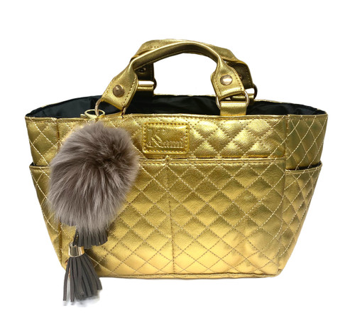 Kami-So Ice Skating Rink Tote - (Gold) with Grey Charm