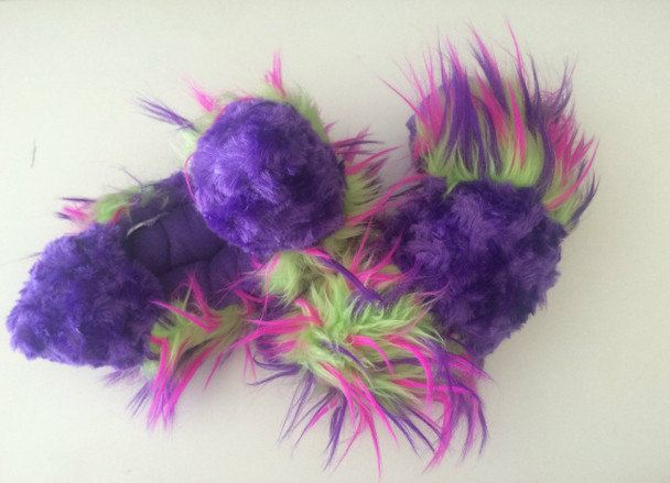CF05 - Purple Fuzzy Fur with Purple, Lime and Hot Pink Crazy Fur (Purple Inside)