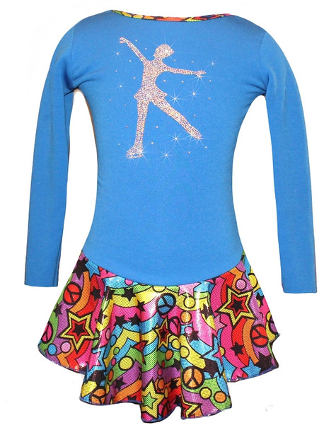 "Blue ""Peace & Stars"" Ice Skating Dress with ""Skating Girl"" design"