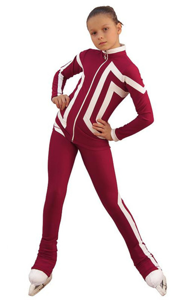 IceDress Figure Skating Outfit - Thermal - Vanguard - Sport (Bordeaux with White)