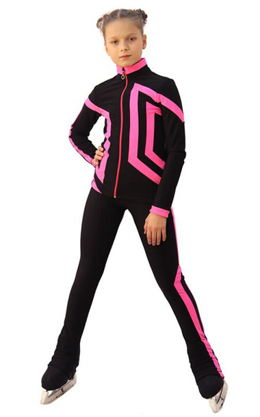 IceDress Figure Skating Outfit - Thermal - Vanguard - Sport (Black with Hot Pink)
