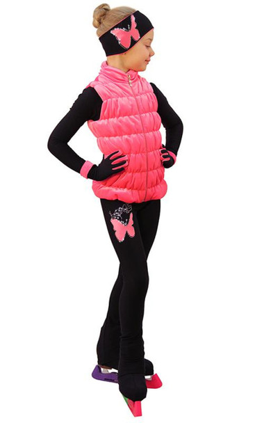 IceDress Figure Skating Outfit - Thermal - Velvet Butterfly with Vest (Coral)