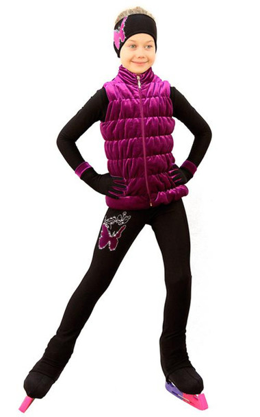 IceDress Figure Skating Outfit - Thermal - Velvet Butterfly with Vest (Fuchsia)