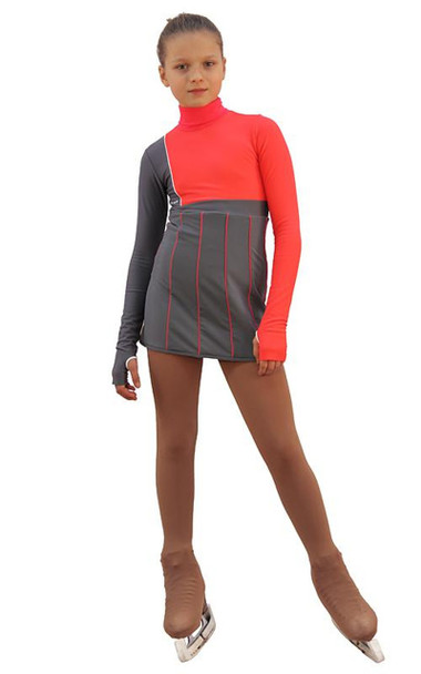 IceDress Figure Skating Dress - Thermal - IceFashion (Light Grey and Hot Coral)