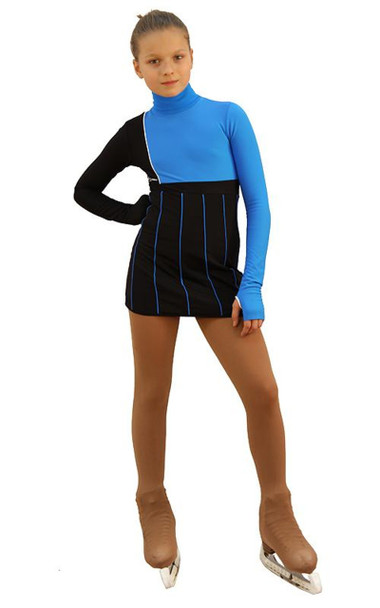 IceDress Figure Skating Dress - Thermal - IceFashion (Black with Blue)