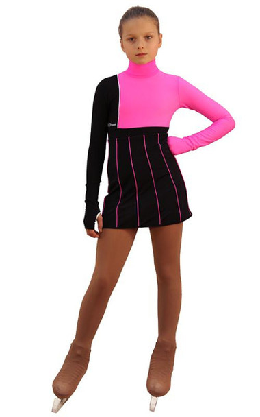 IceDress Figure Skating Dress - Thermal - IceFashion (Black with Hot Pink)