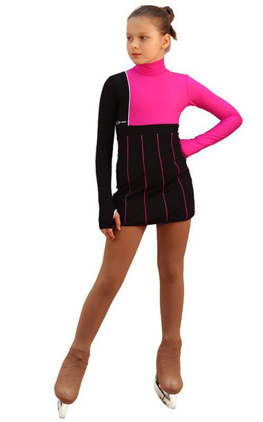 IceDress Figure Skating Dress - Thermal - IceFashion (Black with Fuchsia)
