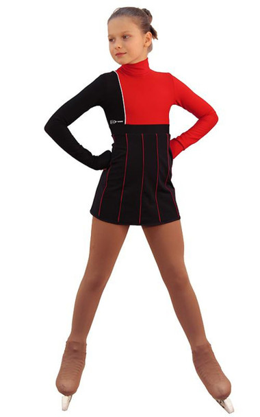 IceDress Figure Skating Dress - Thermal - IceFashion (Black with Red)