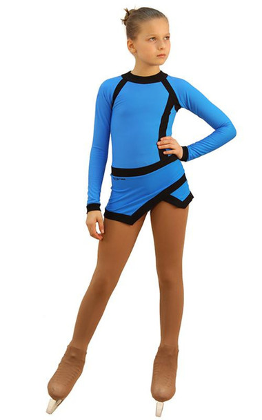 IceDress Figure Skating Dress - Thermal - IceSports (Blue and Black)