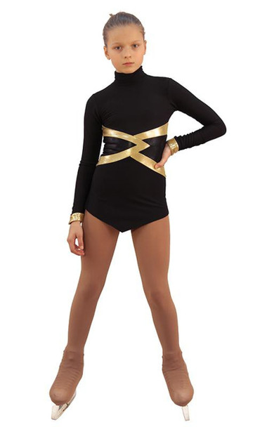IceDress Figure Skating Dress - Thermal - Jackson 2 (Black with Gold and Black Lycra)