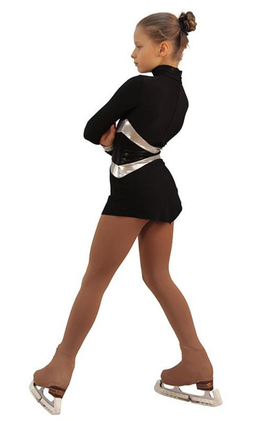 IceDress Figure Skating Dress - Thermal - Jackson 2 (Black with Silver and Black Lycra)