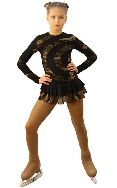 IceDress Figure Skating Dress - Thermal - Serpentine (Black and Military Dark)