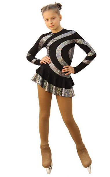 IceDress Figure Skating Dress - Thermal - Serpentine (Black with a Hologram)