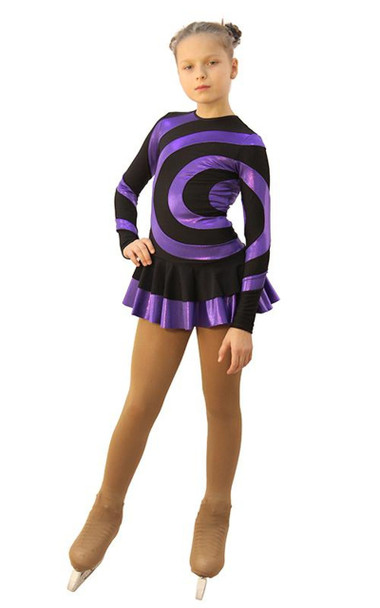 IceDress Figure Skating Dress - Thermal - Serpentine (Black with Purple Lycra)
