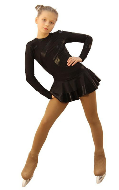 IceDress Figure Skating Dress - Thermal - Serpentine (Black with Black Lycra)