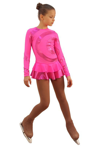 IceDress Figure Skating Dress - Thermal - Serpentine (Hot Pink with Lycra)