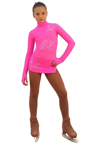 IceDress Figure Skating Dress - Thermal - Super Star (Hot Pink with Rhinestones)