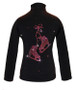"Black ice Skating Jacket with Fuchsia ""Pair of skates"" rhinestone applique"