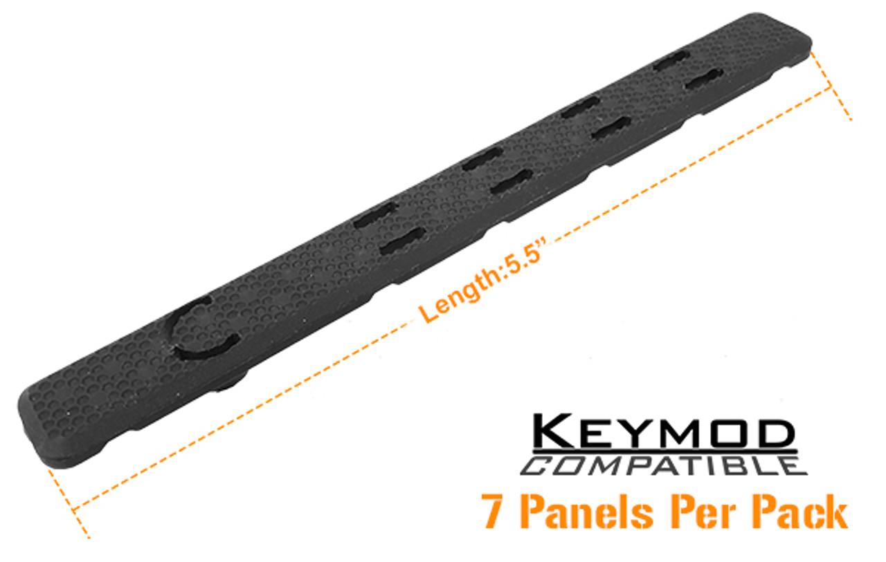 "UTG Low Profile Keymod Rail Panel Covers, 5.5"" Black, 7/Pack"