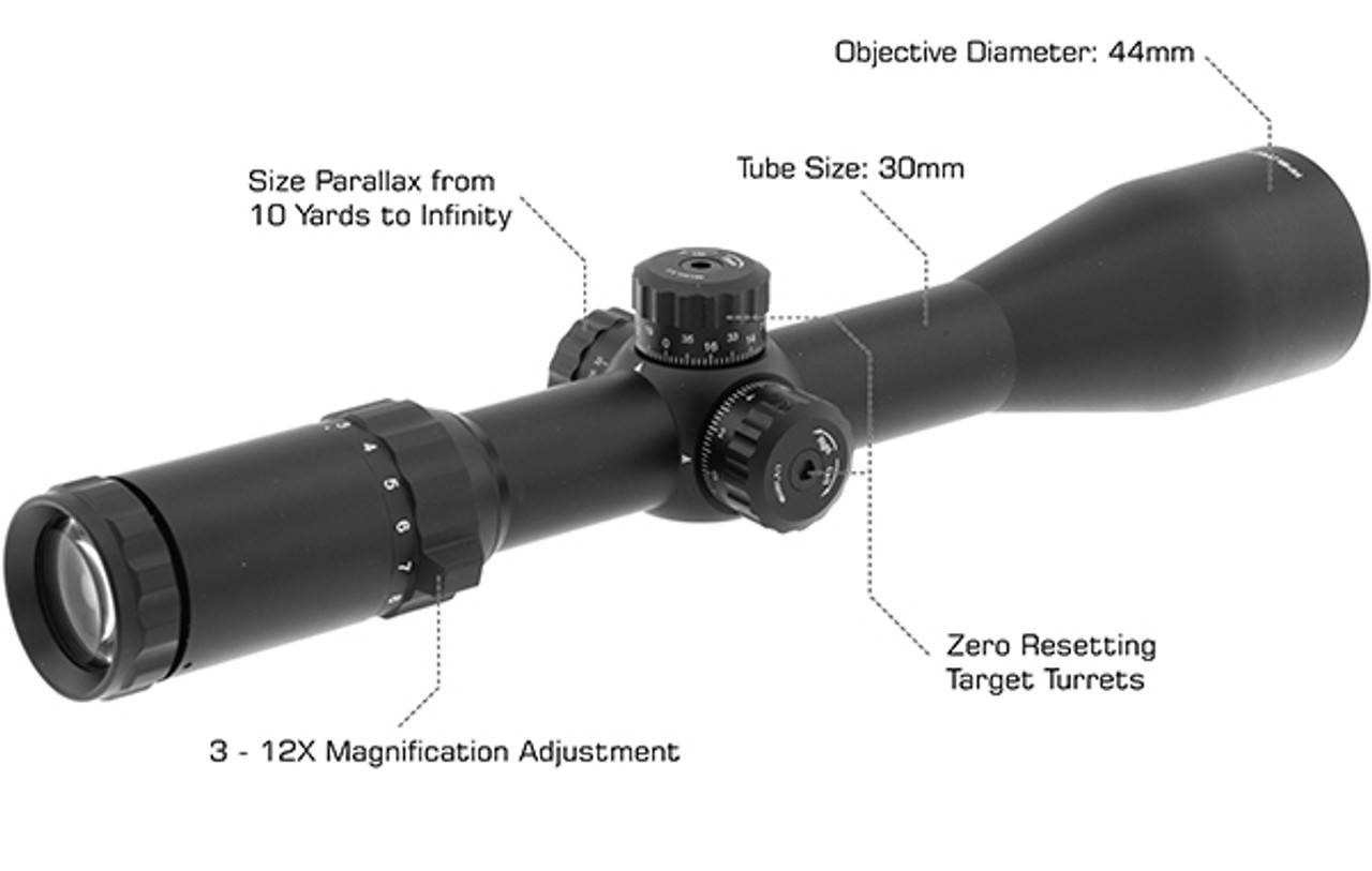 SCP3-3124EAOW UTG® Classic 3-12X44 30mm Mil-dot Scope (LEAPERKD_SCP3-3124EAOW)