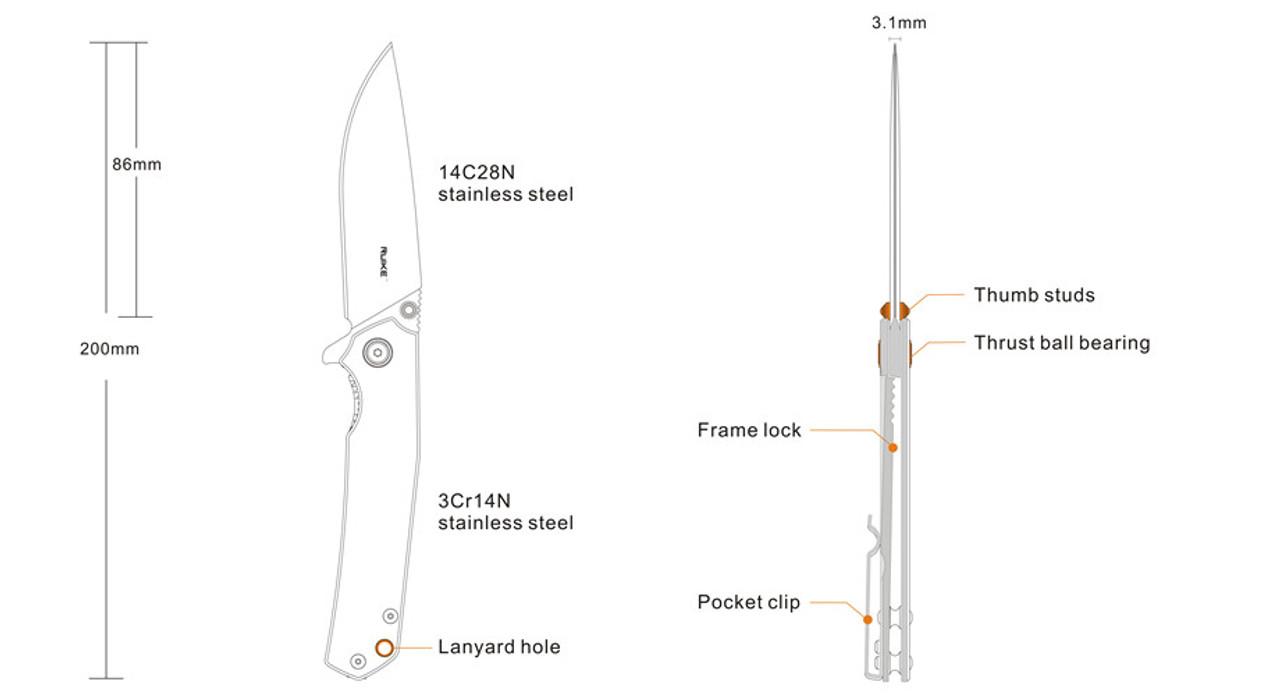 RUIKE P801-SB Stonewash Black Straight Edge Knife (P801-SB)