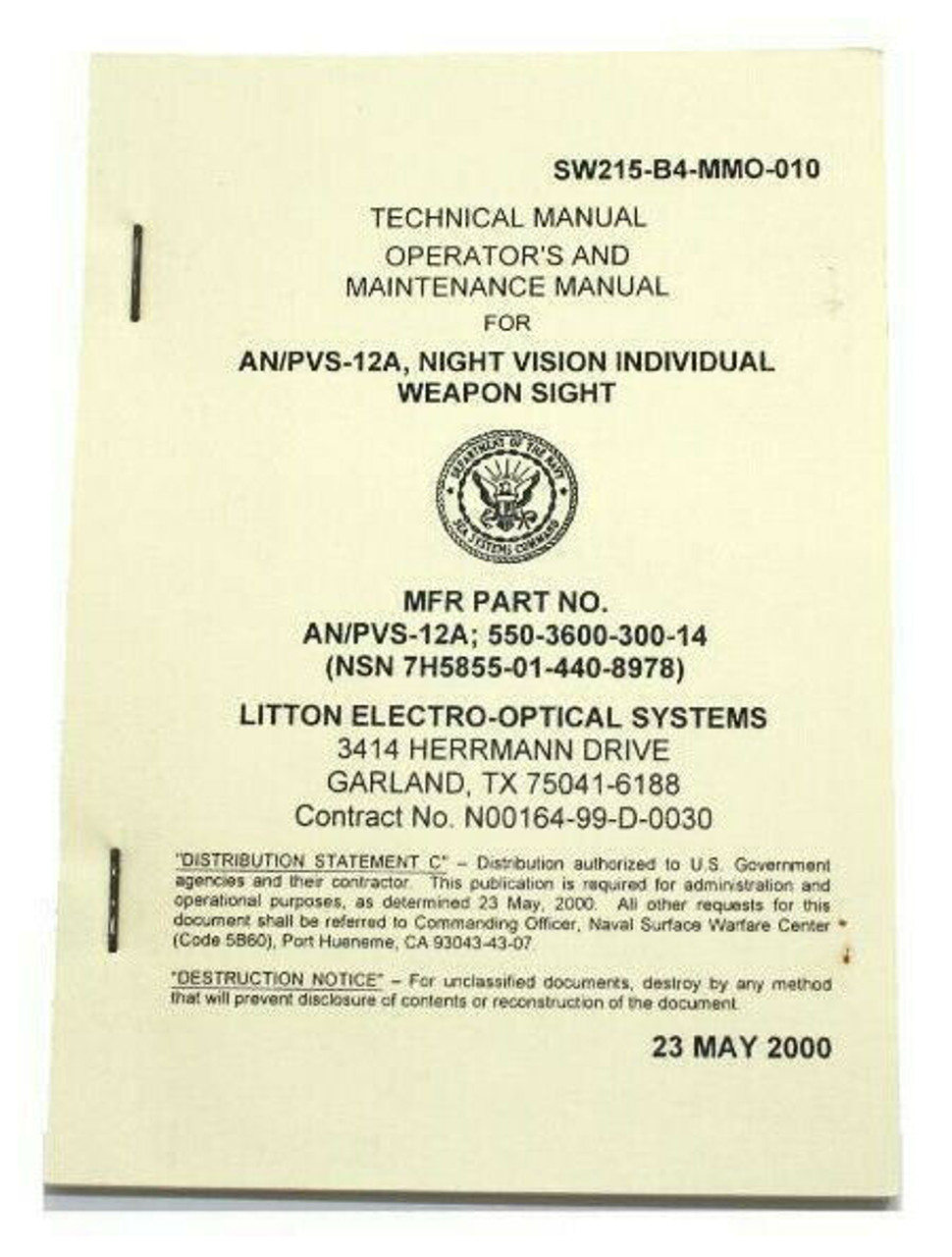 AN/PVS-12A Aquila 4X Night Vision Weapon Sight Operator's Manual L-3 Litton; NEW