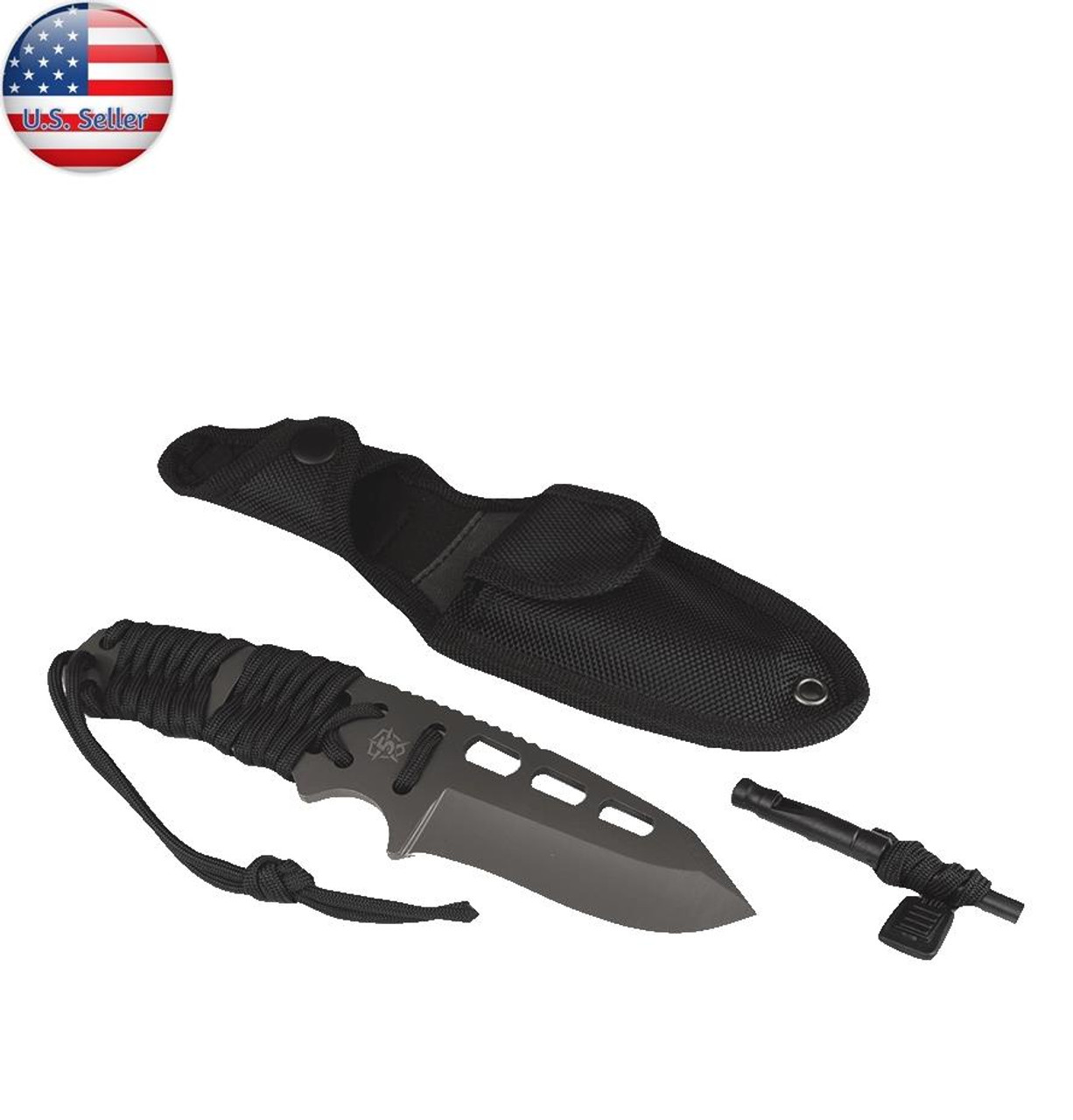 5ive Star Gear T2XL Survival Paracord Knife and fire starter, Black Model 5655