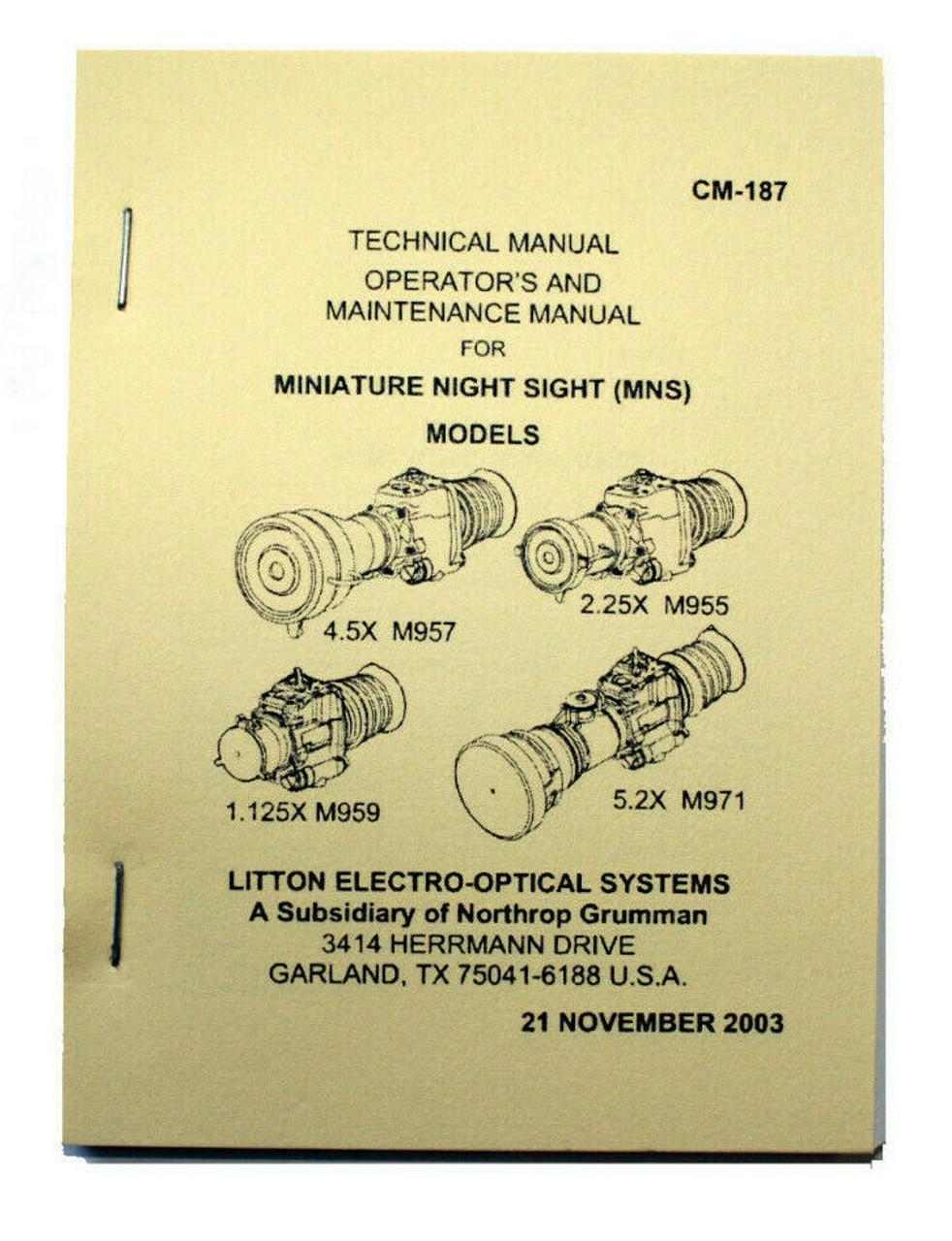 AN/PVS-17 M955 M957 M959 M971 Miniature Night Sight (MNS) Manual by L-3/Litton
