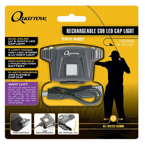 Quarrow Rechargable COB LED Fisherman Cap Light with UV Mode. Rechargable 100Lum