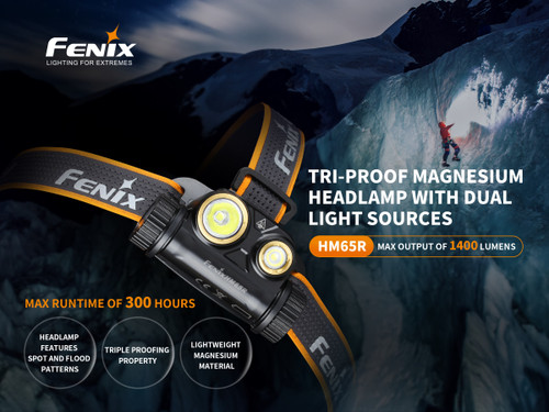 Fenix HM65R 1400 Lumen Headlamp. Dual Light Source (HM65R)