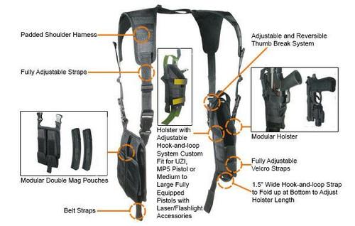 UTG Law Enforcement Vertical Shoulder Holster, Left/Right Reversible, PVC-H175B