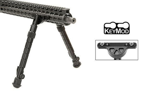 "UTG TL-BPDK02 Recon Flex KeyMod Bipod, Matte Black, Cent. Ht. 8.0""-11.8"""