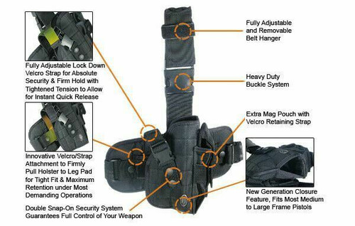 UTG Special Ops Tactical Thigh Holster fits many makes and models PVC-H178B