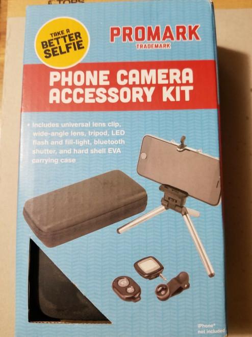 Promark Phone Accessory Kit -Wide Lens, Tripod, LED Flash, Shutter, Case