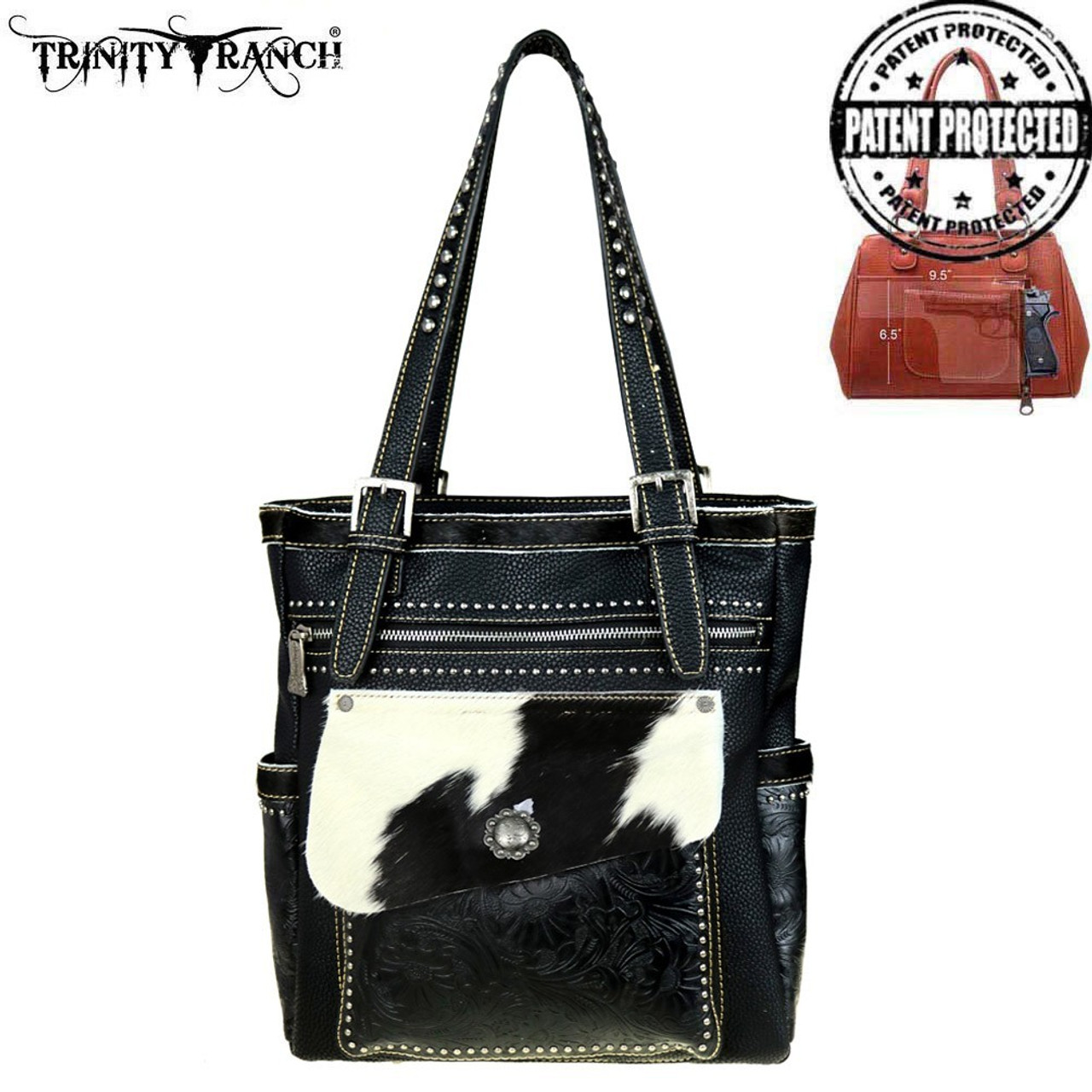 Montana West Trinity Ranch Silver Conchos /& Hair on Leather Hobo Handbag Purse