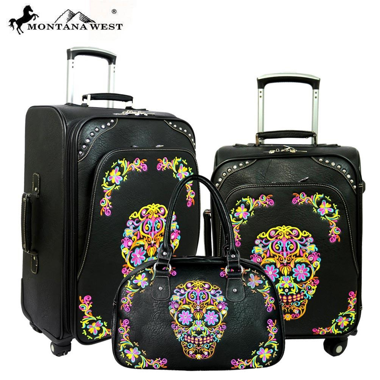Montana West Western Floral Tooled Leather 3 PC Luggage Set suitcases /& satchel