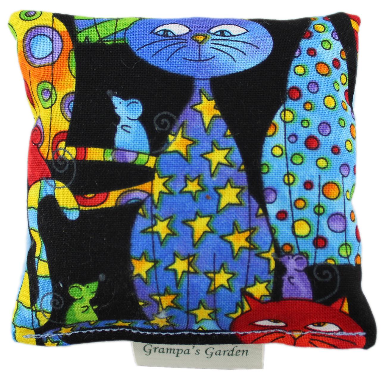 Party Cat Fabric Design Cat Nip Pillow - Front
