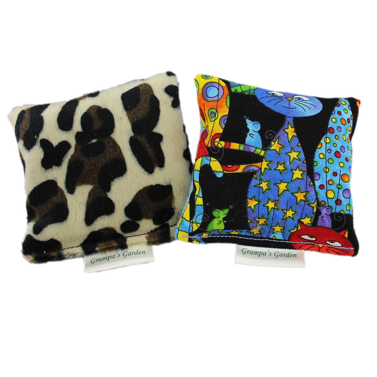 Leopard Plush and Party Cat Fabric Design Cat Nip Pillows