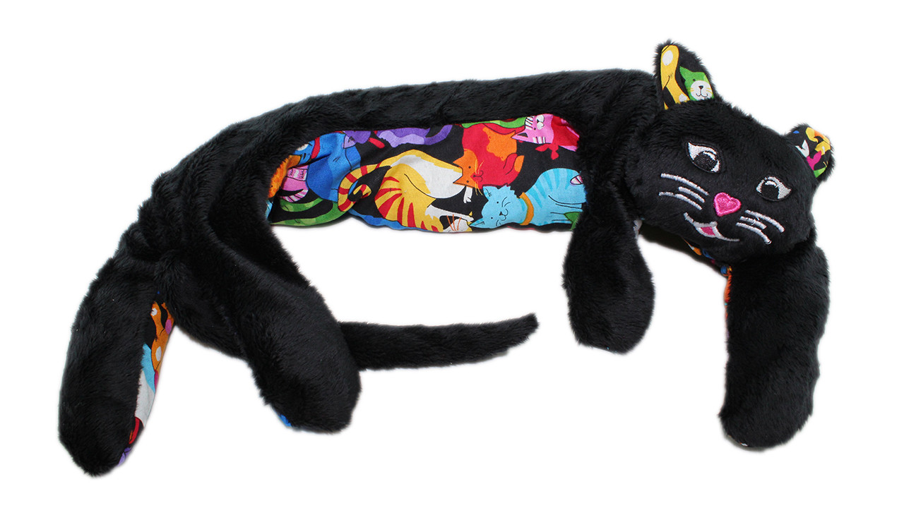 Weighted Washable Kitty Kuddles - Black Fluff / Happy Cats Belly