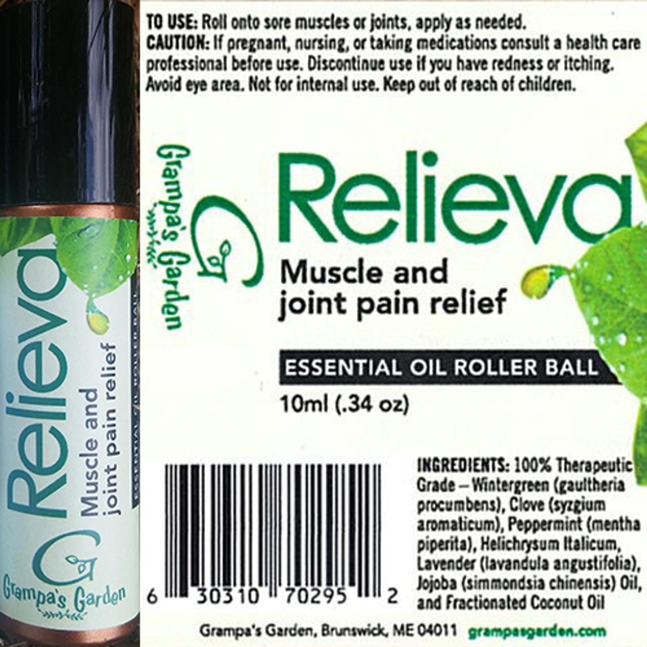 Relieva Muscle and Joint Pain Relief Essential Oil Roller Ball by Grampa's Garden Made in Maine