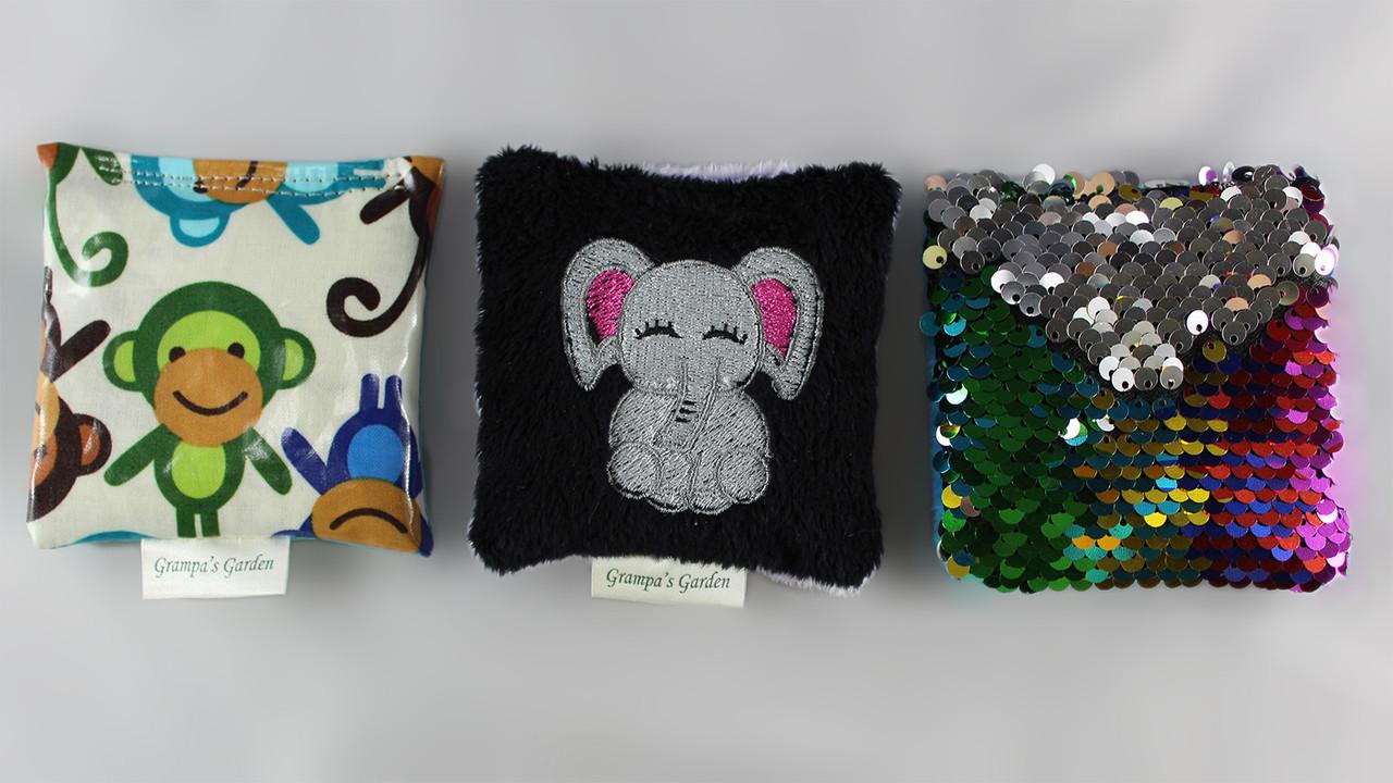 Elephant Fidget Pocket Pets Set Scented Sensory, Stress, Fidget Toy from Grampa's Garden Made in Maine USA