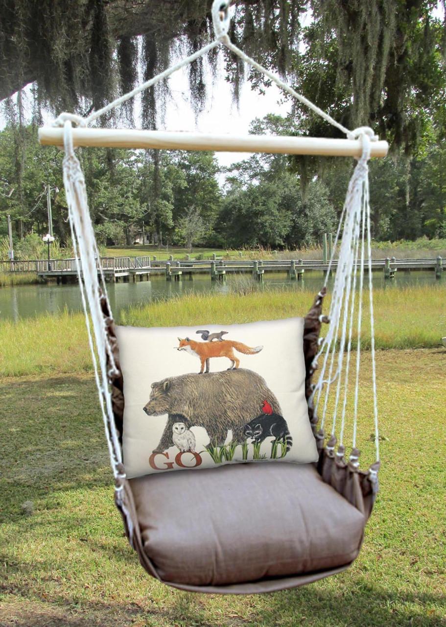 Indoor or Outdoor Swing - Chocolate Fabric - Go Wild ( wildlife ) Pillow