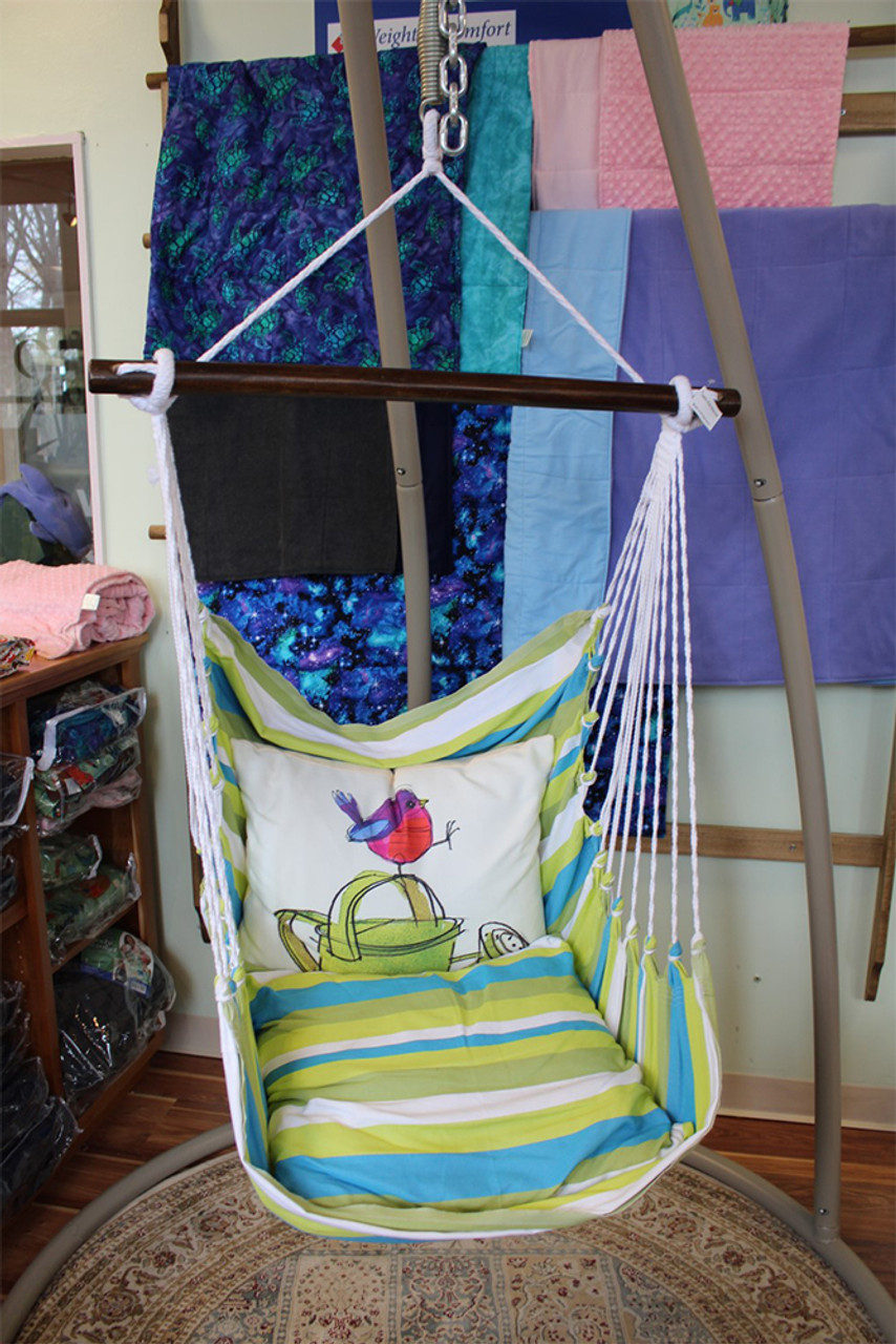 Indoor or Outdoor Swing - Bright Blue Green White Stripes - Pillow with Bird on Watering Can