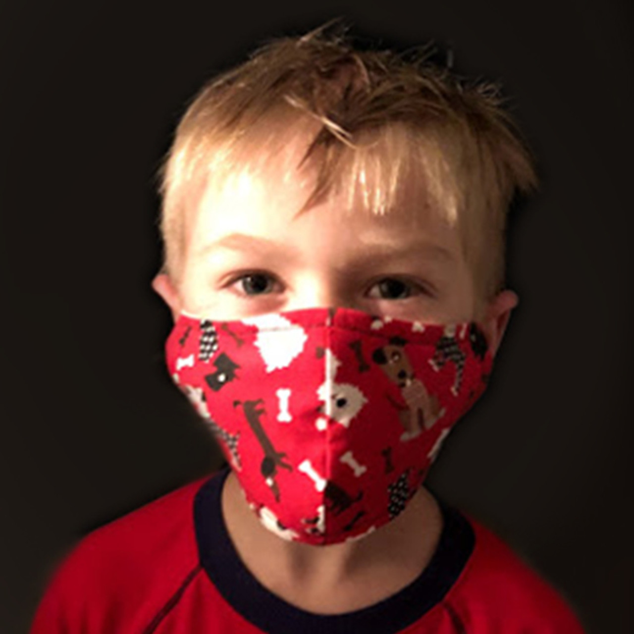 Children's Face Covering Mask - Red with Dogs