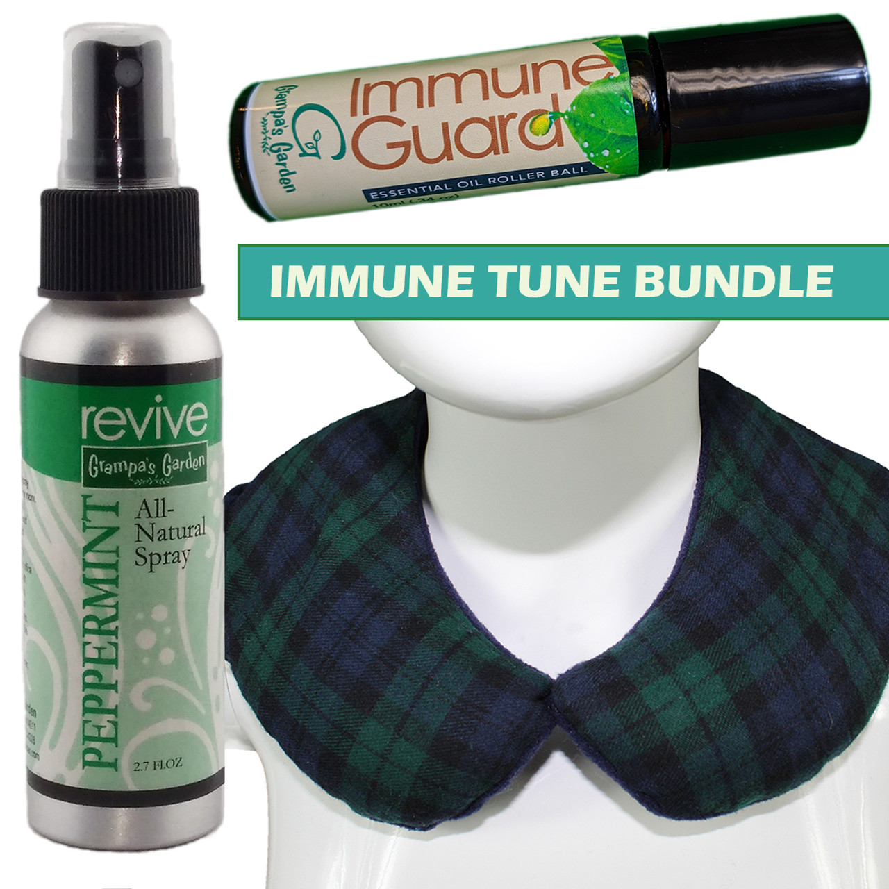 Immune Tune Bundle - Immune Roll-On Essential Oil Blend, Thera Pac (Black Watch or Galaxy), Peppermint Room Spray
