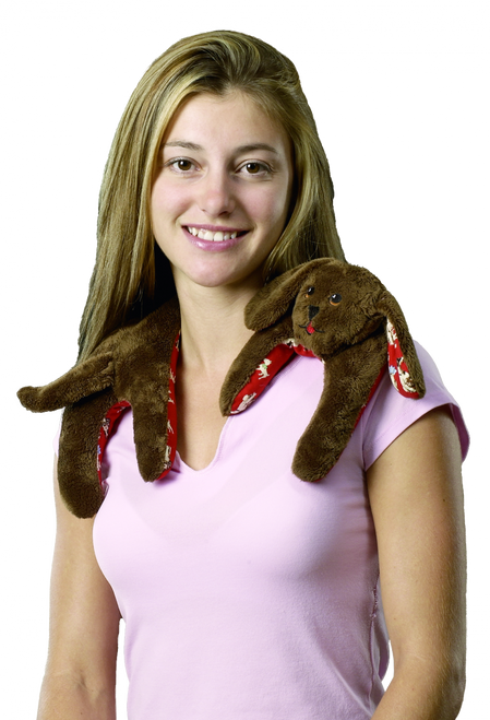 """Weighted Washable Puppy Hugs Brown Neck Wrap 5""""x21"""" by Grampa's Garden"""
