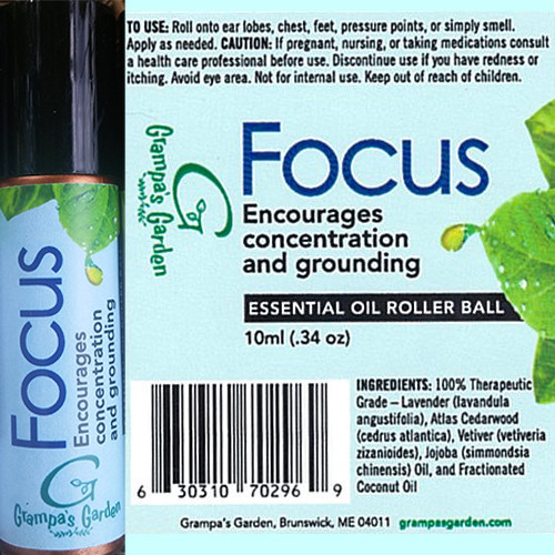 Focus Encourages Concentration and Grounding Essential Oil Roller Ball by Grampa's Garden Made in Maine