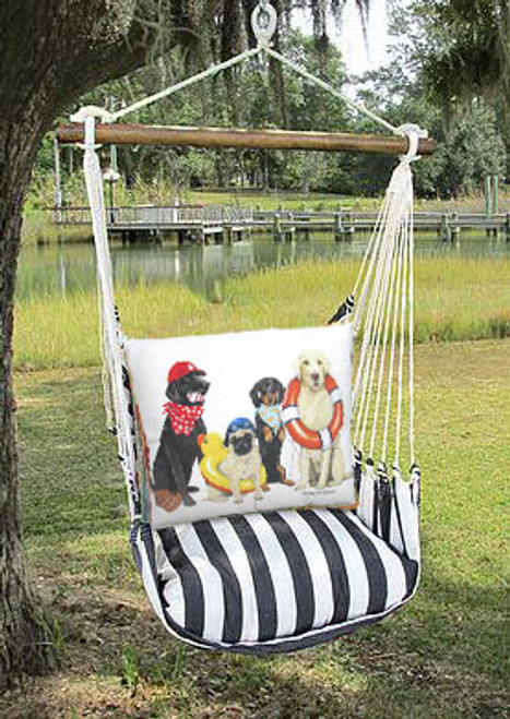 Indoor or Outdoor Swing - Black & White Stripes - Pillow feat. Dogs