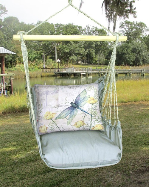 Indoor or Outdoor Swing - Latte Fabric - Dragonfly Pillow