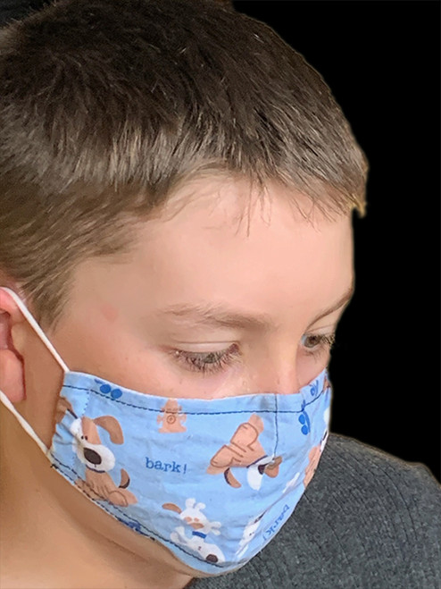Children's Face Covering Mask - Blue with Dogs